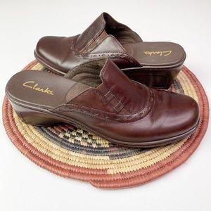CLARKS Brown Slip On Clog Size 8.5